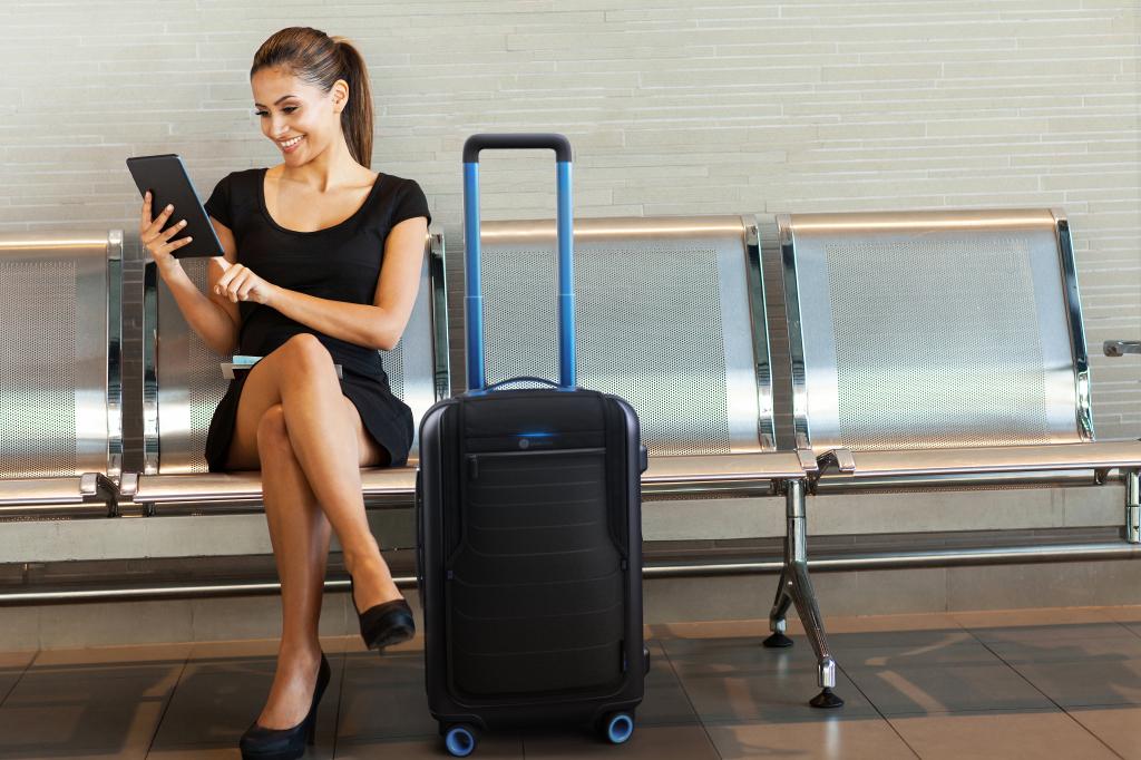 Bluesmart et Ipad à l'aéroport